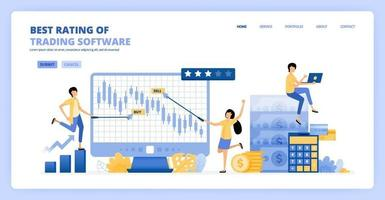 People trade candle chart software for long term profits and investments. financial literacy rating and review. Can be use for landing page template ui ux web mobile app poster banner website flyer ad vector