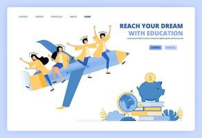 students wear toga and ride pencil, metaphor for reach future dreams with savings and educational scholarship. Can be use for landing page template ui ux web mobile app poster banner website flyer ads vector
