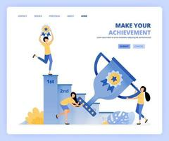 people win awards by holding trophies and medals. climb ladder to reach the target and become number one. Can be use for landing page template ui ux web mobile app poster banner website flyer ads vector