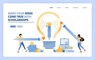 students can reach their dream by taking educational scholarship program. vector illustration concept can be use for landing page, template, ui ux, web, mobile app, poster ads, banner, website, flyer