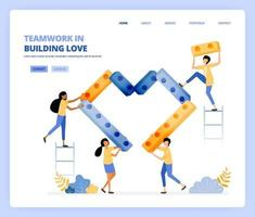 cooperate with each other in building hearts, teamwork and relationships. vector illustration concept can be use for, landing page, template, ui ux, web, mobile app, poster ads, banner, website, flyer