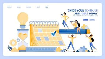 check schedules in jobs calendar. find ideas in meeting and appointment. vector illustration concept can be use for landing page, template, ui ux, web, mobile app, poster ads, banner, website, flyer