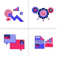 logo design icon of business chart, bubble chat and achieve target of goals, financial tax analysis strategy. Icon pack template can be use for landing page, web, mobile app, poster, banner, website vector