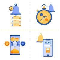 diseños de símbolo de logotipo para temas de estrategia de análisis de tiempo, negocios, tecnología 4.0 y finanzas. La plantilla de paquete de iconos planos se puede utilizar para la página de destino, web, aplicación móvil, póster, banner, sitio web, gráfico