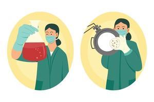 Two Female Scientists Testing Virus vector