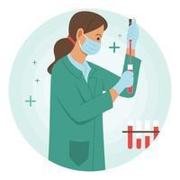 Científica probando algunos productos químicos en tubos de ensayo de vidrio. vector