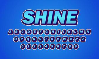 blue shine font alphabet vector