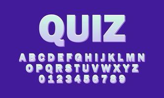 quiz font alphabet vector