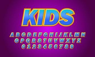 Kids font alphabet vector