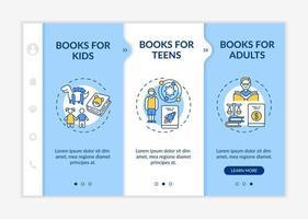 Online library categories onboarding vector template
