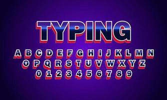 Typing font alphabet vector