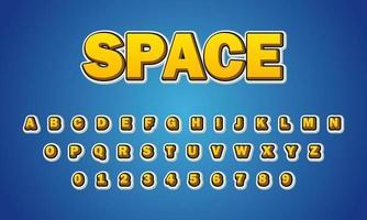 alfabeto de fuente espacial vector