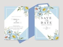 Beautiful wedding invitation card template with floral hand drawn vector