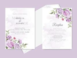 Beautiful wedding invitation card template set vector