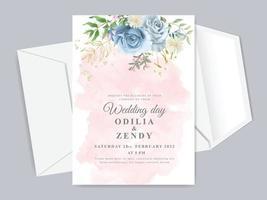 Beautiful floral hand drawn wedding invitation card template vector