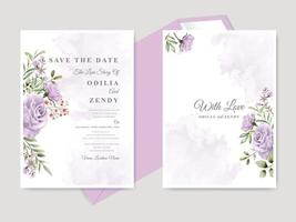 Beautiful floral hand drawn wedding save the date invitation card template vector