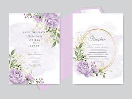 Wedding invitation card template set vector