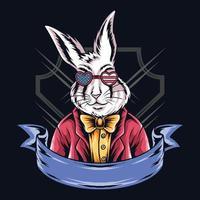 rabbit in american glasses vector
