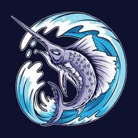 Marlin sword fish design vector