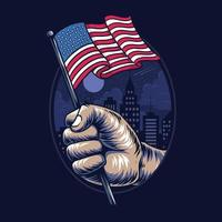 people's hands holding the United States flag in the middle of the city vector