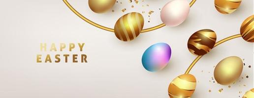 Easter background template with luxury premium golden eggs. vector