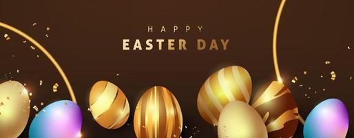 Plantilla de fondo de Pascua con huevos de oro premium de lujo. vector