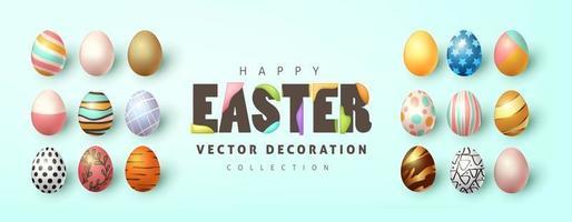 huevos de pascua de colores tradicionales con diferentes adornos. vector