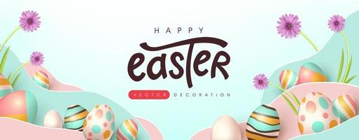 Easter banner background template with colorful eggs vector