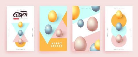 Modern easter banner background template with colorful eggs. vector