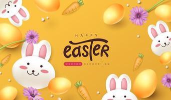 Fondo de banner de Pascua con lindo conejo y huevos de Pascua de colores. vector