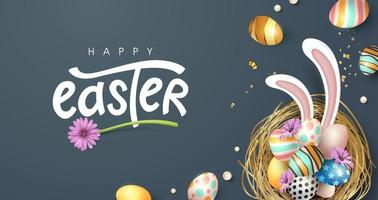 Happy easter greeting card banner background vector