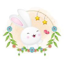 lindo conejito y mariposa jugando con ilustración floral de dibujos animados. animales con colección floral vector premium