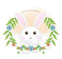 Cute bunny on the cloud with floral cartoon illustration. animals with floral collection vector