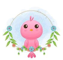 Cute little bird with floral cartoon illustration. animals with floral collection vector