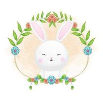 Cute bunny with floral cartoon illustration. animals with floral collection vector