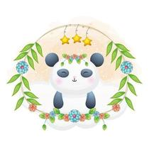 Cute little panda with floral cartoon illustration. animals with floral collection vector