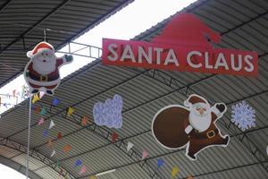 Santa Claus and Christmas decorations
