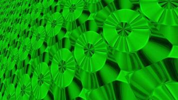 Abstract Green Neon Background with Rotating Disks.