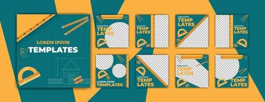 Architecture blueprint social templates vector