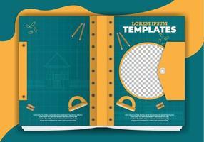 plantillas de libros de planos de arquitectura vector