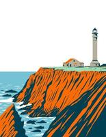 Point Arena Lighthouse in Mendocino County Located in California Coastal National Monument Coast of California WPA Poster Art vector