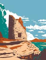 Painted Hand Pueblo in Canyon of the Ancients National Monument in Southwest Colorado WPA Poster Art vector