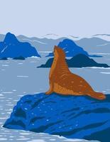 Sello de puerto de California en afloramientos rocosos en el monumento nacional costero de California a lo largo de la costa de California wpa poster art vector