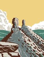 monumento nacional de la roca de la chimenea en el bosque nacional de san juan en el arte del cartel del wpa del suroeste de colorado vector
