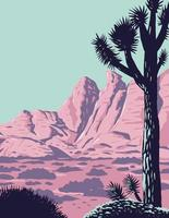 Joshua Tree in the Remote and Rugged Desert Landscape of Gold Butte National Monument in Clark County Nevada WPA Poster Art vector