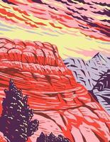 el monumento nacional de los acantilados bermellones en el condado de coconino arizona incluye la meseta de paria acantilados bermellones coyote buttes y el cañón de paria wpa poster art vector