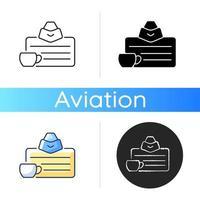Flight attendant license icon vector