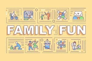 banner de conceptos de palabra de diversión familiar vector