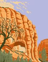 Mogollon Cliff Dwellings in Gila Cliff Dwellings National Monument Located in the Gila Wilderness New Mexico WPA Poster Art vector