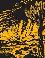Joshua Tree in the Remote and Rugged Desert Landscape of Gold Butte National Monument in Clark County Nevada Woodcut WPA Poster Art vector